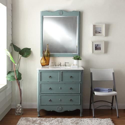 Adelina 34 Inch Vintage Bathroom Vanity Vintage Mint Blue Finish   Bathroom  Vanities And Sink Consoles