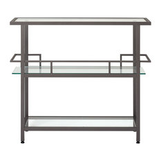 Offex Home Office Piloti Bar, Pewter, Clear Glass