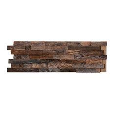 3D Solid Hardwood Interlocking Wall Plank, Natural Mahogany