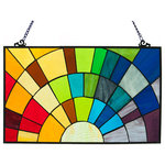 """River of Goods - 12"""" Tiffany Style Stained Glass Rays of Sunshine Window Panel - Roy G. Biv! This 12""""H Tiffany style stained glass window panel will be a ray of sunshine in your home!  Composed of 4three pieces of brightly colored glass, this window panel will light up any room with the colors of the rainbow!  The colors transition from all parts of the light spectrum, from red all the way to purple.  A fun piece for any window!  Includes 28"""" hang chain for easy placement in any window."""