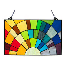 "12"" Tiffany Style Stained Glass Rays of Sunshine Window Panel"