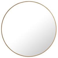 """Metal Frame Round Mirror 28"""" Brass Finish"""