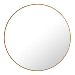"""28"""" Round Metal Frame Mirror, Brass"""