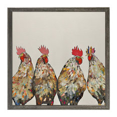 """""""Roosters on Cream"""" Mini Framed Canvas by Eli Halpin"""