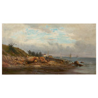 "Consigned ""Boats off a Rocky Coast"" Landscape Painting by Carl Philipp Weber"