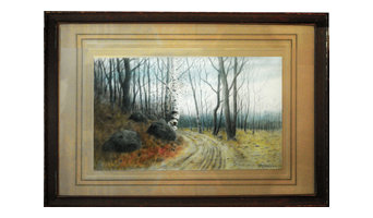 "Consigned Antique Watercolor -""Autumn"""