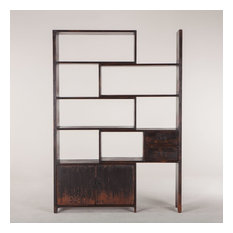 87-inch L Library Bookshelf Hand Crafted Reclaimed Pine Antique Black Painted Finish