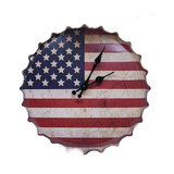 American USA Flag Bottle Cap Metal Wall Clock, Red, White and Blue