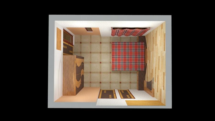 Masterbed room 3D Render Top View