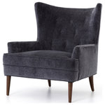 Marco Polo Imports - Claire Living Chair - An elegant, mid-century twist on the traditional wing chair.  Charcoal grey-toned upholstery is supported by a tapered rubber-wood legs in a toasted almond finish. Featuring hand-button tufting and accent seaming for a look of classic-modern elegance.