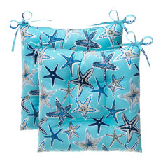 Reversible Tufted Square Chair Cushion 2 Pack, Reach For The Stars, Blue