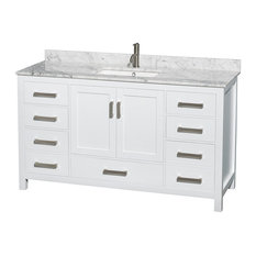 "Sheffield 60"" White Single Vanity, Carrera Marble Top and Undermount Square Sink"