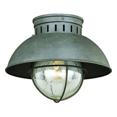 Harwich Gray Coastal Barn Dome Outdoor Flush Mount Ceiling Light Clear Glass