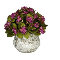 Artificial Purple Kalanchoe in Distressed Cement Vase