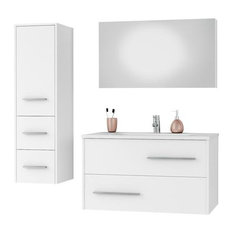DP Fancy Wall Bathroom Vanity Cabinet Set Single Sink, White Gloss Lacquer, 36""