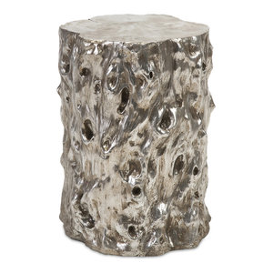 White Marble Garden Stool Traditional Accent And