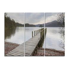 """Wooden Jetty on Lake District"" Wall Art, 3 Panels, 36""x28"""