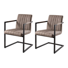 Fanny Dining Chairs With Armrests, Taupe, Set of 2
