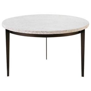 Circular White Marble Coffee Table With Metal Base