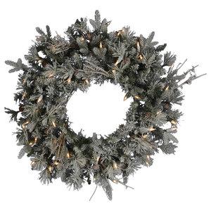 """Pre-Lit Frosted Wistler Fir Artificial Christmas Wreath, Clear Dura Lights, 24"""""""