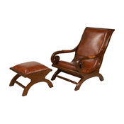 Large Teak Wood and Brown Leather Chair With Ottoman Set