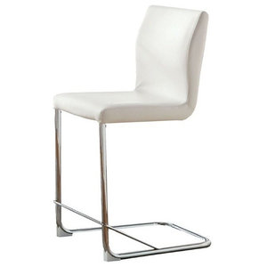 """Furniture of America Hugo 24.25"""" Counter Stool in White (Set of 2)"""