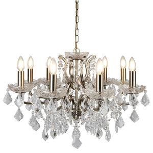 Paris 8-Light Chandelier Antique Brass Clear Crystal Drop