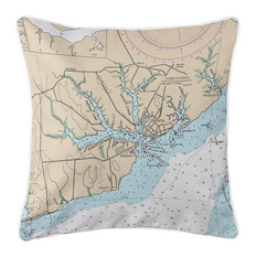 Oriental, NC Nautical Chart Pillow