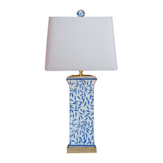 Blue and White  Tall Bamboo Leave Vase Table Lamp