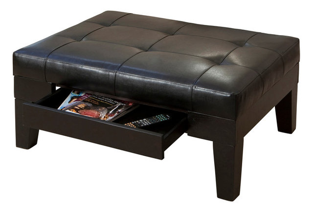 Tucson Leather Storage Ottoman Coffee Table Transitional