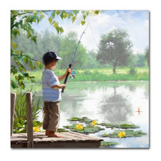 "The Macneil Studio 'Boy Fishing' Canvas Art, 14"" x 14"""
