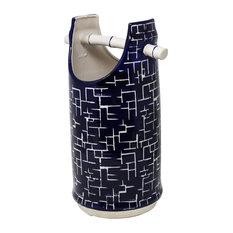"Sagebrook Home Blue/White Bamboo Handle Vase, 14"""