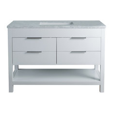 "Stufurhome Rochester Bathroom Vanity, White, 48"" Single Sink"