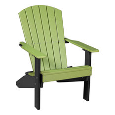 Poly Outdoor Lakeside Adirondack Chair, Lime Green/Black