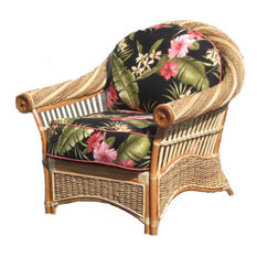 Maui Twist Arm Chair in Natural, Hickory Trellis Fabric