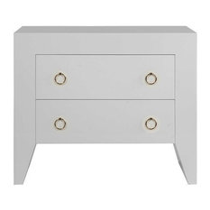 Worlds Away Easton White Two Drawer Side Table White/Brass Hardware