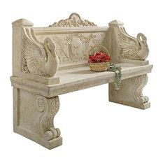 Giant Neoclassical Swan Garden Bench Frt-Nr