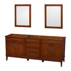 "Hatton Double Vanity, 24"" Mirrors, Light Chestnut, 80"", No Countertop, No Sink"