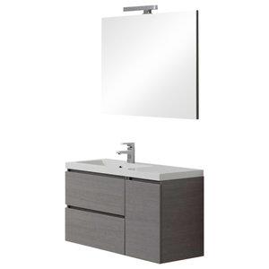 Manhattan Grey Left Basin Bathroom Vanity Unit, Simple Mirror, 90 cm
