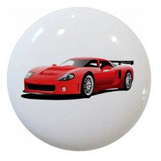 Red Sports Car Ceramic Cabinet Drawer Knob