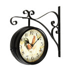 balck iron doublesided wall clock with scroll wall mount