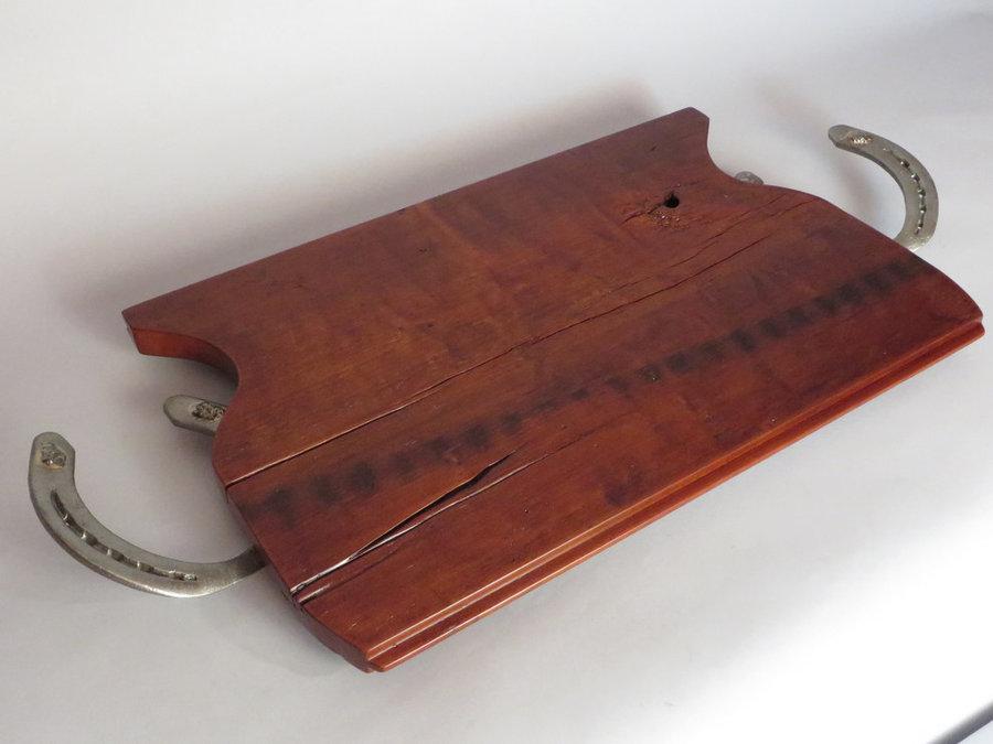 Tray #18010 Cherry T&G Threshing Floor, Horse Shoe Handles