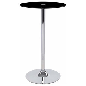 Modern Bistro Table With Black Tempered Glass Top and Chrome Plated Stand