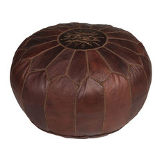 Moroccan Buzz - Brown Moroccan Leather Pouf Ottoman With Brown Stitching, Unstuffed - Floor Pillows and Poufs