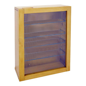 Wall Display Cabinet with Natural Wooden Frame, 1 Door and 4 Glass Shelves