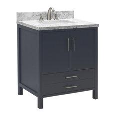 "California Bath Vanity, Base: Charcoal Gray, 30"", Top: Carrara Marble"