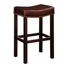 Tudor Backless Stationary Bar Stool Antique-Style Brown Counter Height
