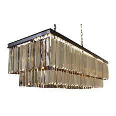 """D'Angelo 40"""" Smoked Mirrorred Prism Fringe Crystal Chandelier"""