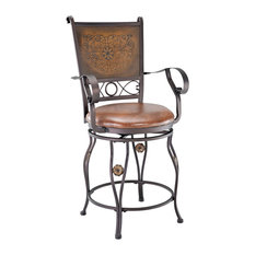 Powell Furniture Bronze And Tall Copper Stamped Back Bar Stool With Arms