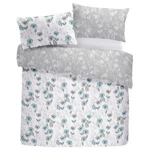 Fliss Easy Care Floral Duvet Cover Set, Duck Egg, King
